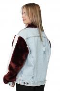 Jacket Denim Fur Sleeves b