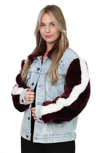 Jacket Denim Fur Sleeves F